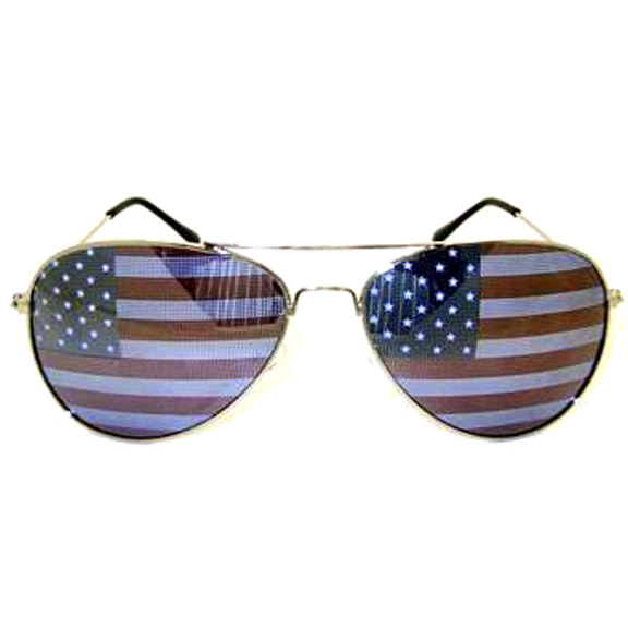 AVIATOR SUNGLASSES AMERICAN FLAG LENS, VERY NICE.